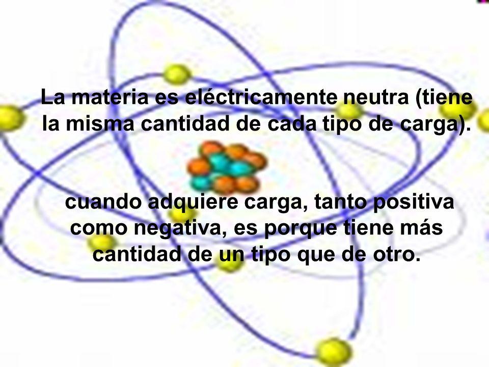La materia es eléctricamente neutra (tiene la misma cantidad de cada tipo de carga). cuando adquiere carga, tanto positiva como negativa, es porque ti