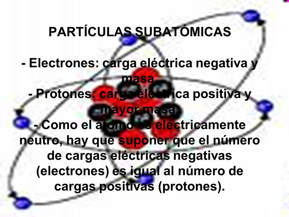 PARTÍCULAS SUBATÓMICAS - Electrones: carga eléctrica negativa y masa. - Protones: carga eléctrica positiva y mayor masa. - Como el átomo es eléctricam