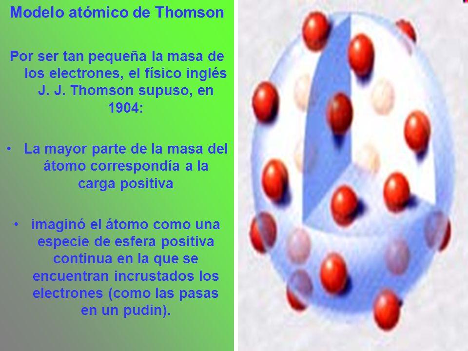 Modelo atómico de Thomson Por ser tan pequeña la masa de los electrones, el físico inglés J. J. Thomson supuso, en 1904: La mayor parte de la masa del