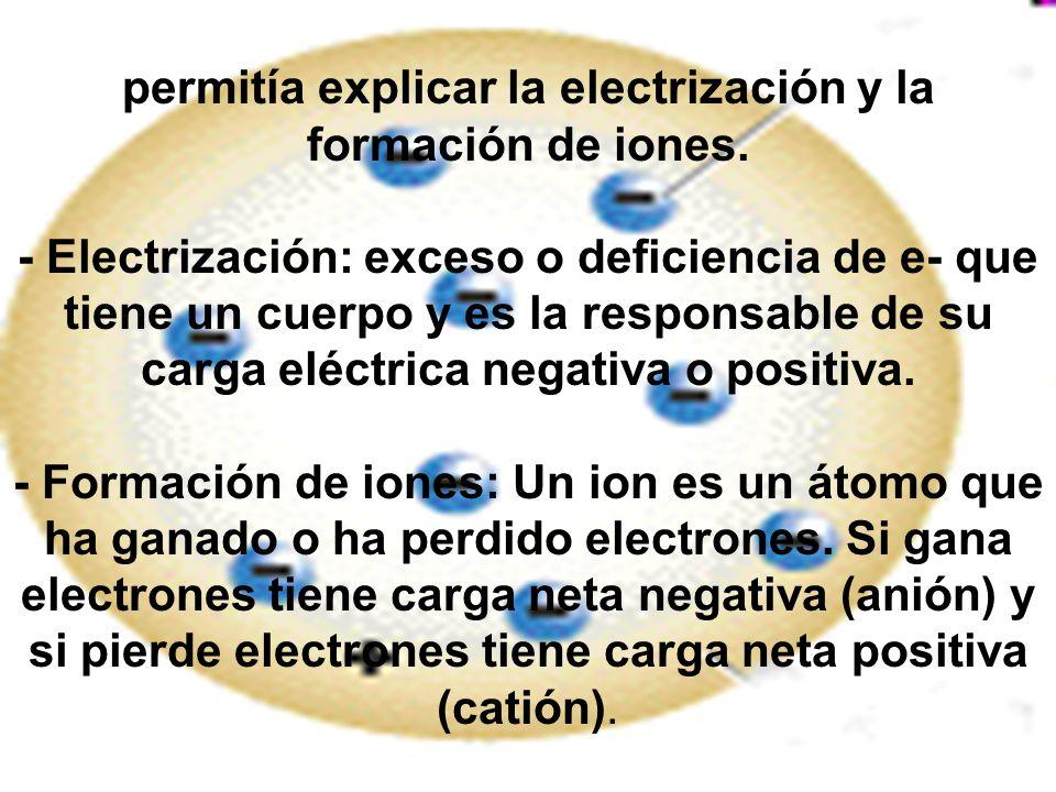 permitía explicar la electrización y la formación de iones. - Electrización: exceso o deficiencia de e- que tiene un cuerpo y es la responsable de su