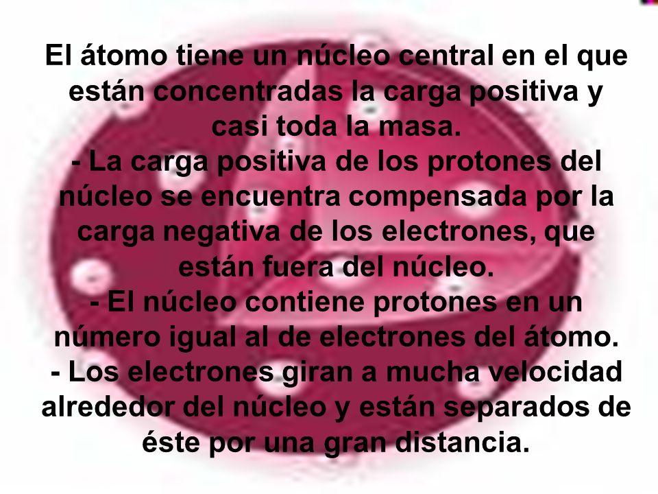 El átomo tiene un núcleo central en el que están concentradas la carga positiva y casi toda la masa. - La carga positiva de los protones del núcleo se