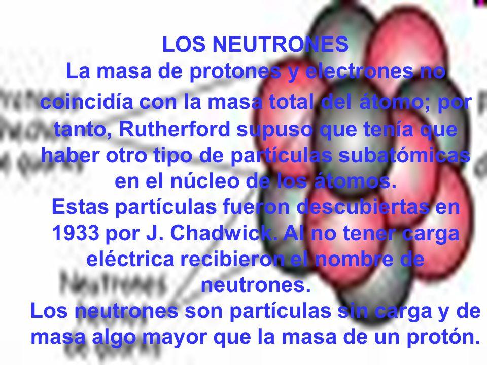 LOS NEUTRONES La masa de protones y electrones no coincidía con la masa total del átomo; por tanto, Rutherford supuso que tenía que haber otro tipo de