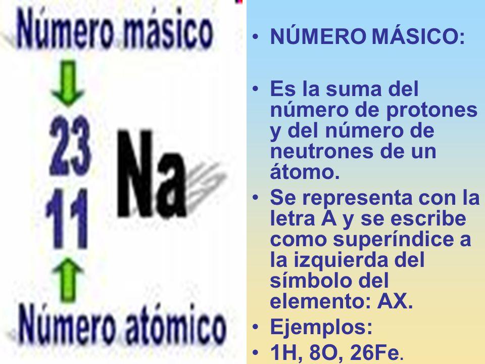 NÚMERO MÁSICO: Es la suma del número de protones y del número de neutrones de un átomo. Se representa con la letra A y se escribe como superíndice a l