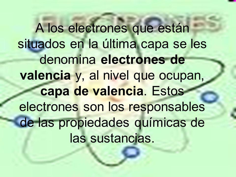 A los electrones que están situados en la última capa se les denomina electrones de valencia y, al nivel que ocupan, capa de valencia. Estos electrone