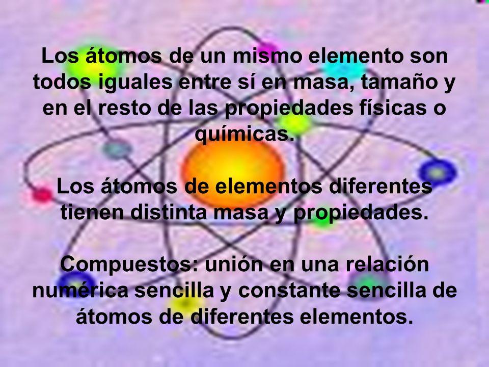 Los átomos de un mismo elemento son todos iguales entre sí en masa, tamaño y en el resto de las propiedades físicas o químicas. Los átomos de elemento