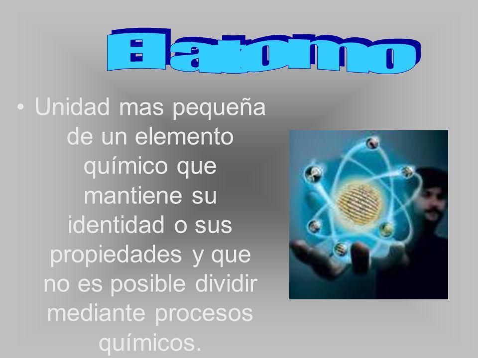 Unidad mas pequeña de un elemento químico que mantiene su identidad o sus propiedades y que no es posible dividir mediante procesos químicos.