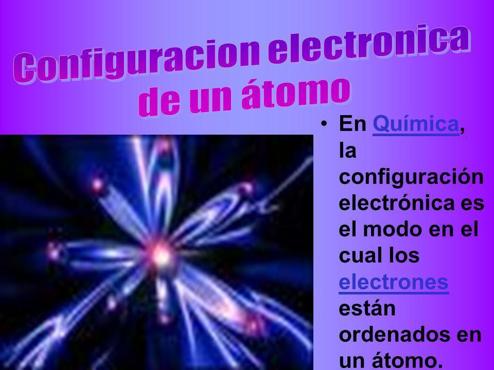 En Química, la configuración electrónica es el modo en el cual los electrones están ordenados en un átomo.