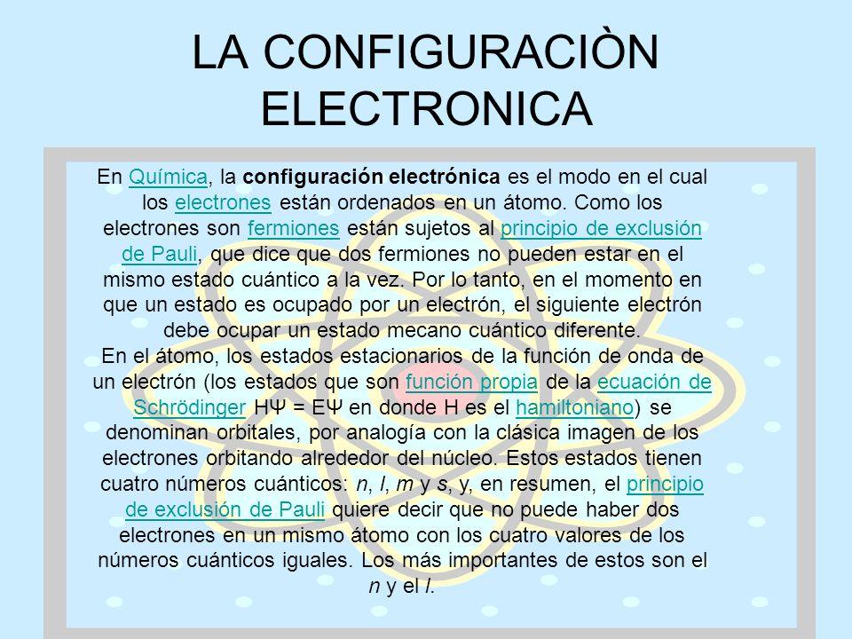 LA CONFIGURACIÒN ELECTRONICA En Química, la configuración electrónica es el modo en el cual los electrones están ordenados en un átomo. Como los elect