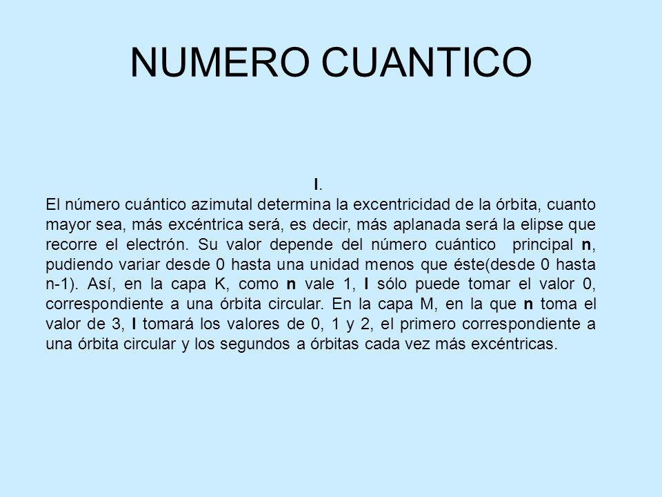 NUMERO CUANTICO l. El número cuántico azimutal determina la excentricidad de la órbita, cuanto mayor sea, más excéntrica será, es decir, más aplanada