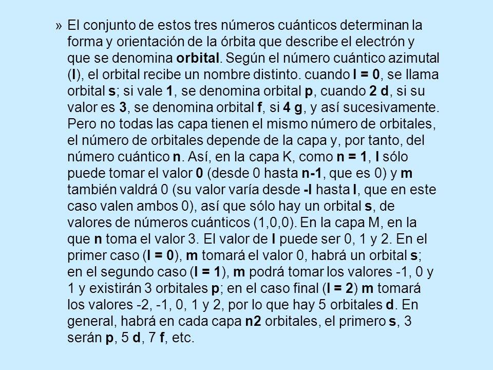 »El conjunto de estos tres números cuánticos determinan la forma y orientación de la órbita que describe el electrón y que se denomina orbital. Según