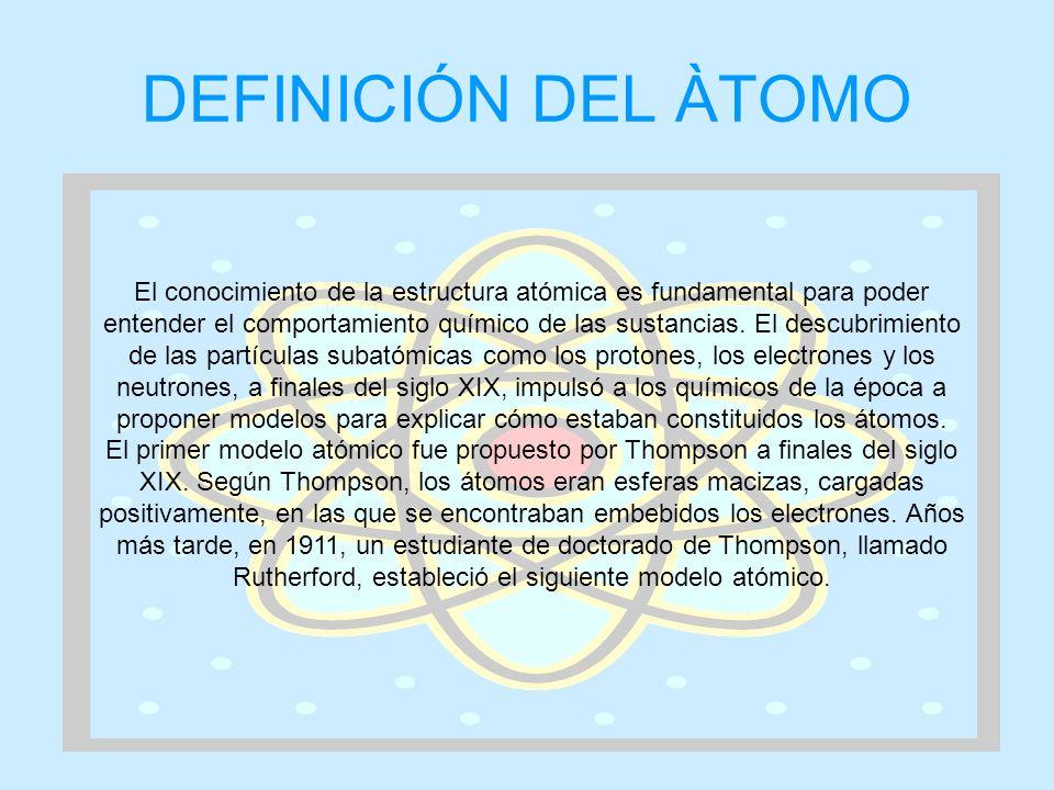 DEFINICIÓN DEL ÀTOMO El conocimiento de la estructura atómica es fundamental para poder entender el comportamiento químico de las sustancias. El descu