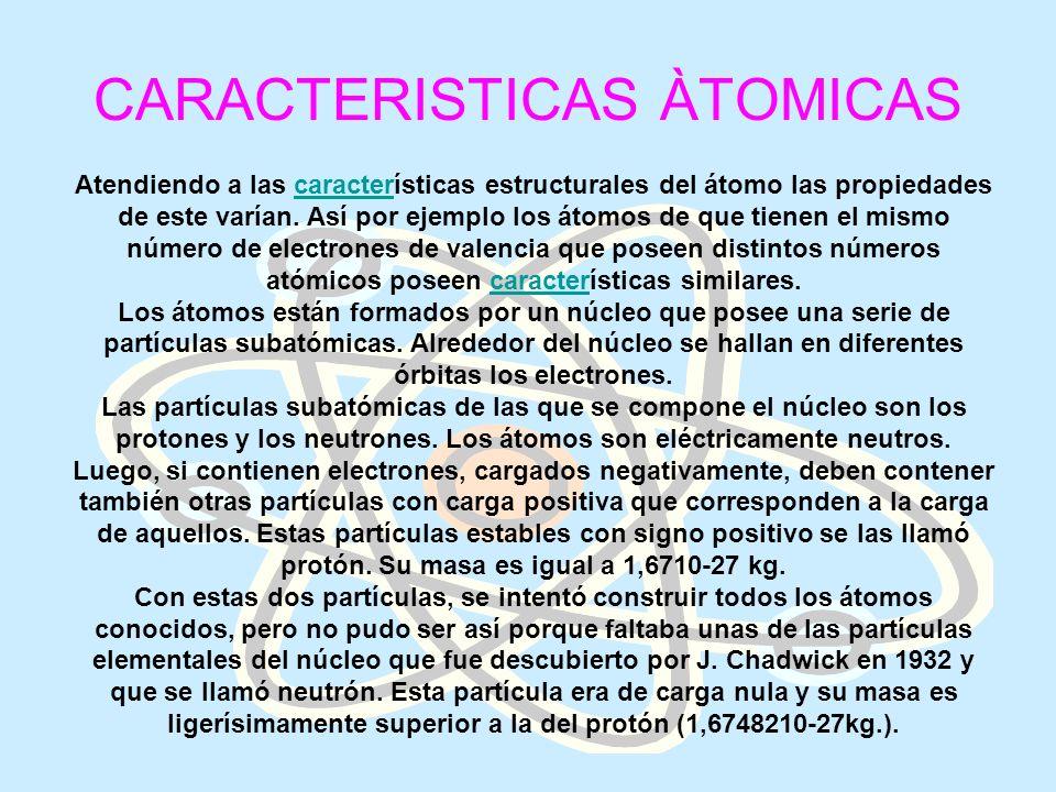 CARACTERISTICAS ÀTOMICAS Atendiendo a las características estructurales del átomo las propiedades de este varían. Así por ejemplo los átomos de que ti