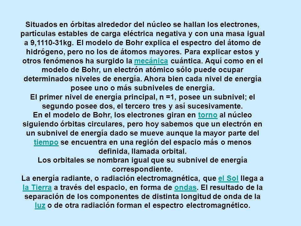 Situados en órbitas alrededor del núcleo se hallan los electrones, partículas estables de carga eléctrica negativa y con una masa igual a 9,1110-31kg.