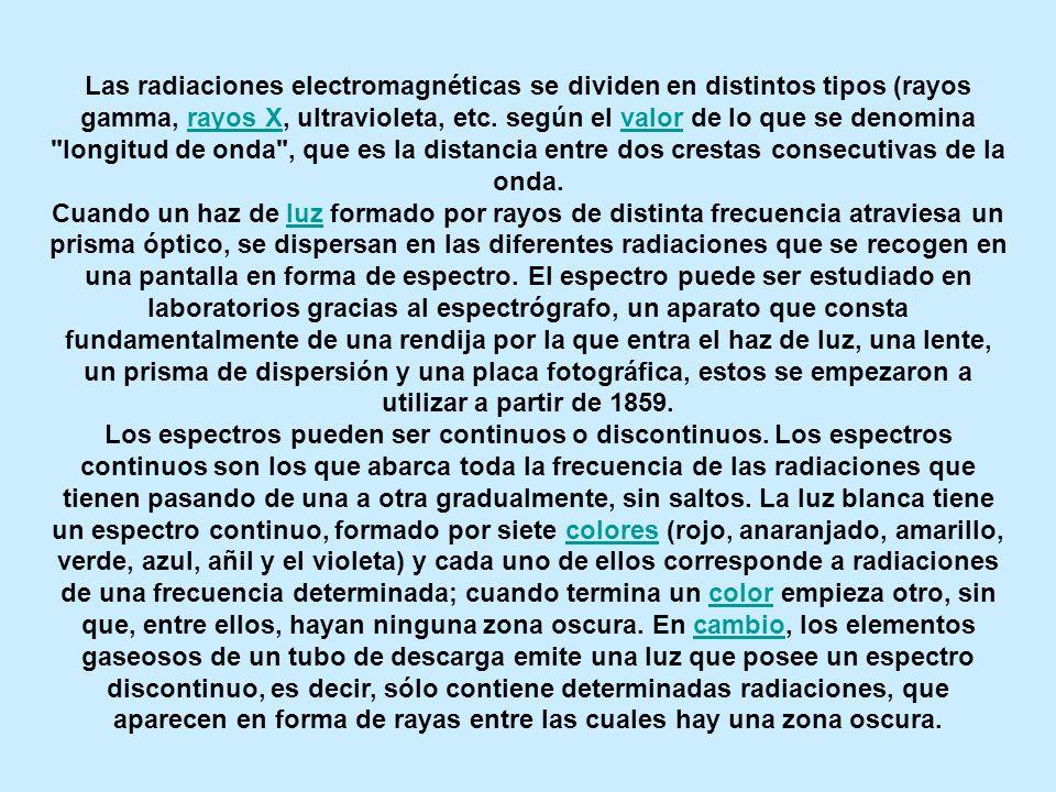 Las radiaciones electromagnéticas se dividen en distintos tipos (rayos gamma, rayos X, ultravioleta, etc. según el valor de lo que se denomina