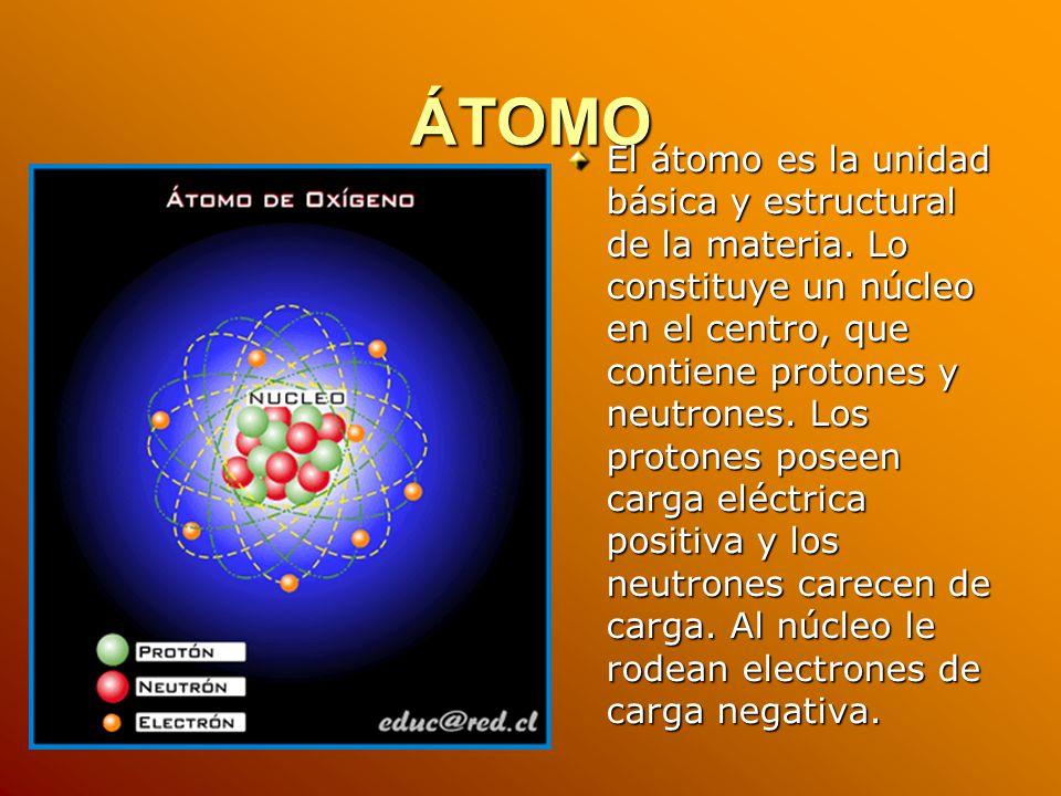 ÁTOMO El átomo es la unidad básica y estructural de la materia. Lo constituye un núcleo en el centro, que contiene protones y neutrones. Los protones