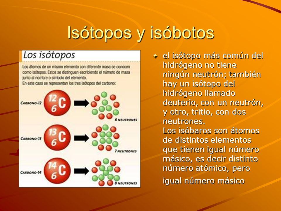 Isótopos y isóbotos el isótopo más común del hidrógeno no tiene ningún neutrón; también hay un isótopo del hidrógeno llamado deuterio, con un neutrón,