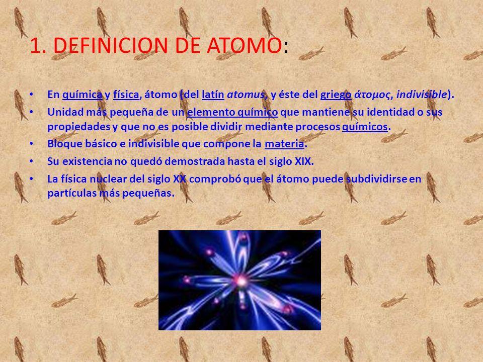 1. DEFINICION DE ATOMO: En química y física, átomo (del latín atomus, y éste del griego άτομος, indivisible).químicafísicalatíngriego Unidad más peque