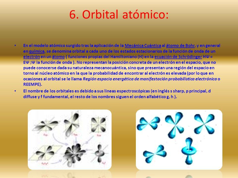 6. Orbital atómico: En el modelo atómico surgido tras la aplicación de la Mecánica Cuántica al átomo de Bohr, y en general en química, se denomina orb