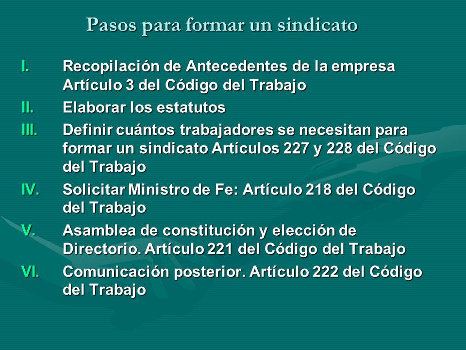 Pasos para formar un sindicato I.Recopilación de Antecedentes de la empresa Artículo 3 del Código del Trabajo II.Elaborar los estatutos III.Definir cu