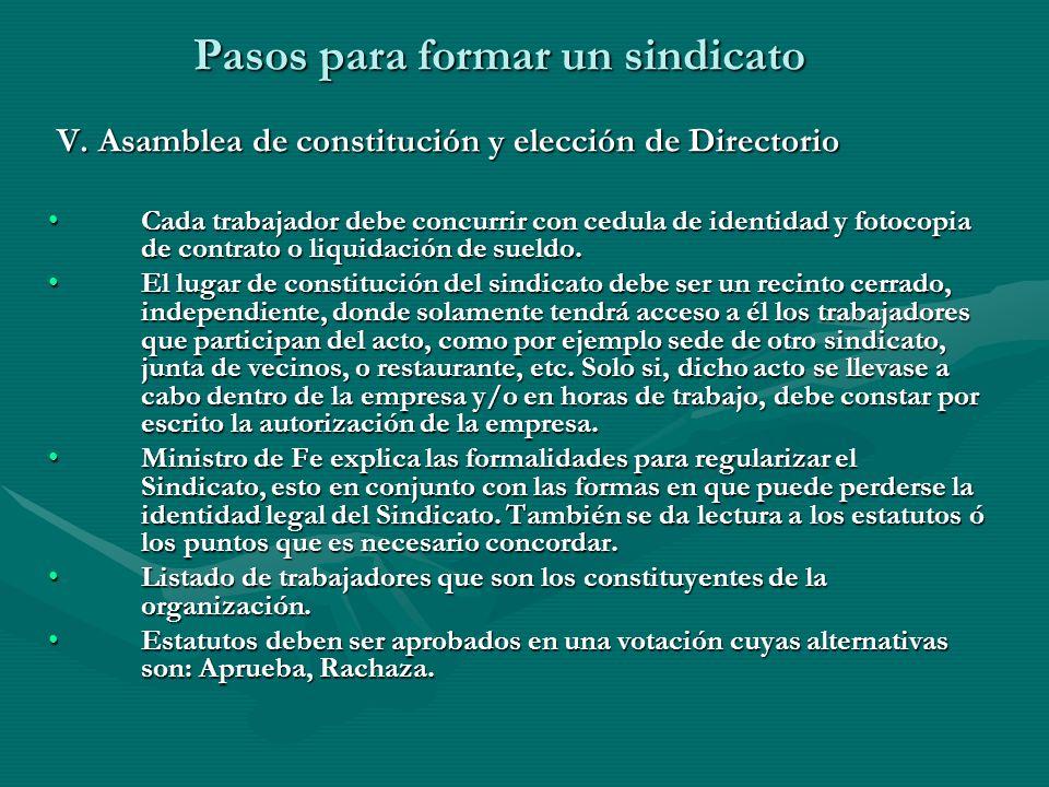 Pasos para formar un sindicato V. Asamblea de constitución y elección de Directorio V. Asamblea de constitución y elección de Directorio Cada trabajad
