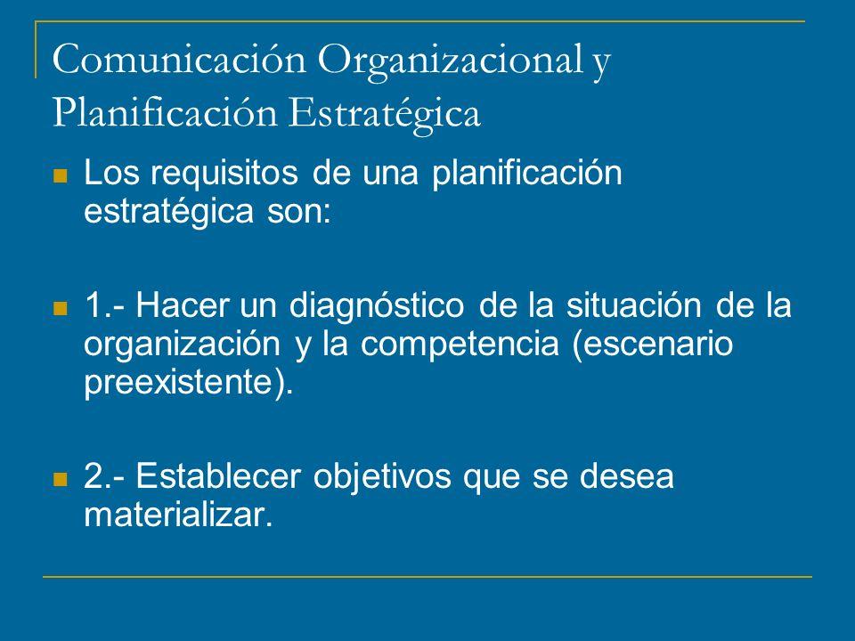 Comunicación Organizacional y Planificación Estratégica Los requisitos de una planificación estratégica son: 1.- Hacer un diagnóstico de la situación de la organización y la competencia (escenario preexistente).