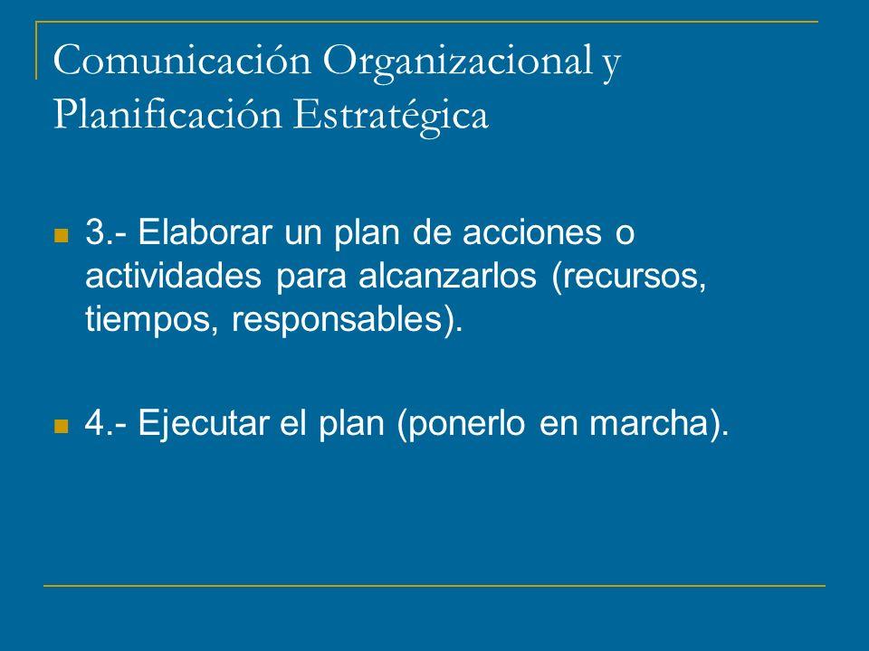 Comunicación Organizacional y Planificación Estratégica 3.- Elaborar un plan de acciones o actividades para alcanzarlos (recursos, tiempos, responsables).