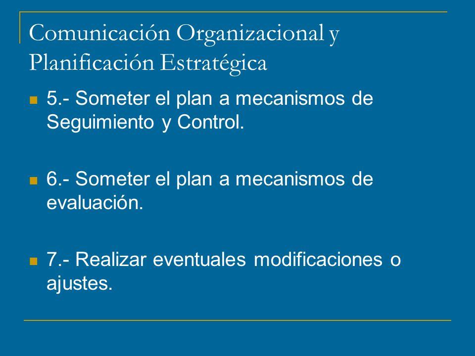 Comunicación Organizacional y Planificación Estratégica 5.- Someter el plan a mecanismos de Seguimiento y Control.