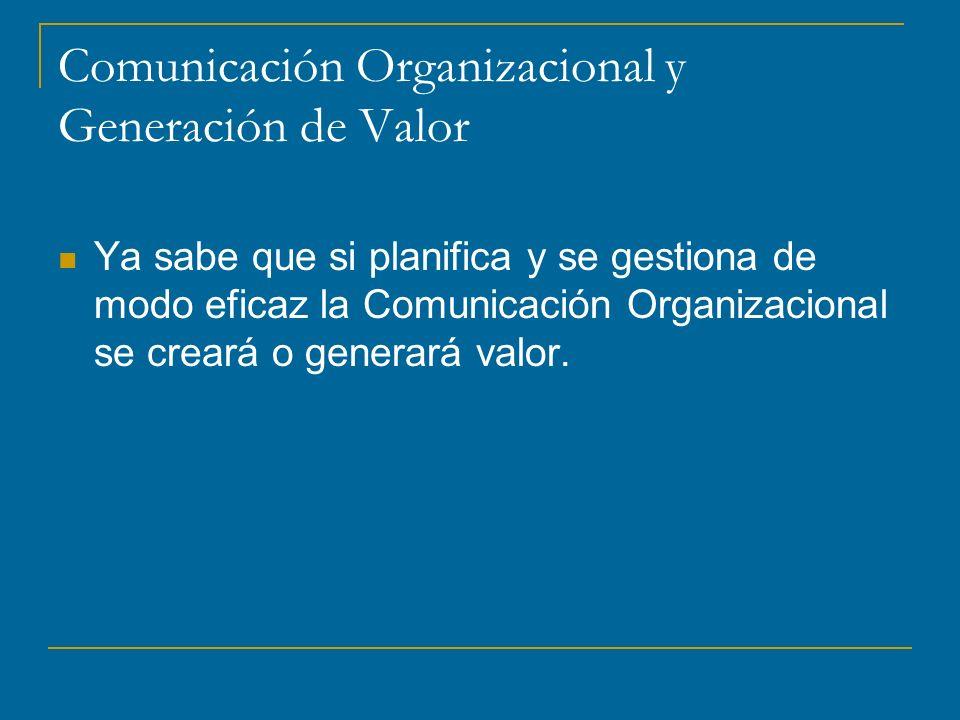 Comunicación Organizacional y Generación de Valor Ya sabe que si planifica y se gestiona de modo eficaz la Comunicación Organizacional se creará o generará valor.