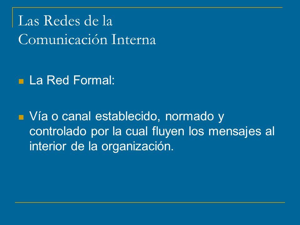 Las Redes de la Comunicación Interna La Red Formal: Vía o canal establecido, normado y controlado por la cual fluyen los mensajes al interior de la organización.