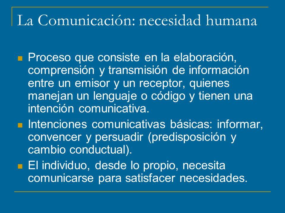 La Comunicación: necesidad humana Proceso que consiste en la elaboración, comprensión y transmisión de información entre un emisor y un receptor, quienes manejan un lenguaje o código y tienen una intención comunicativa.