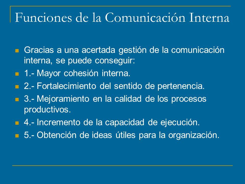 Funciones de la Comunicación Interna Gracias a una acertada gestión de la comunicación interna, se puede conseguir: 1.- Mayor cohesión interna.