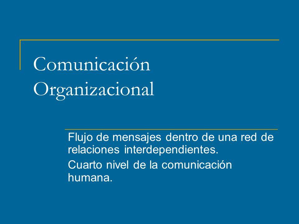 Comunicación Organizacional Flujo de mensajes dentro de una red de relaciones interdependientes.