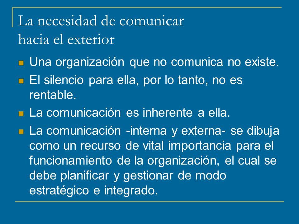 La necesidad de comunicar hacia el exterior Una organización que no comunica no existe.