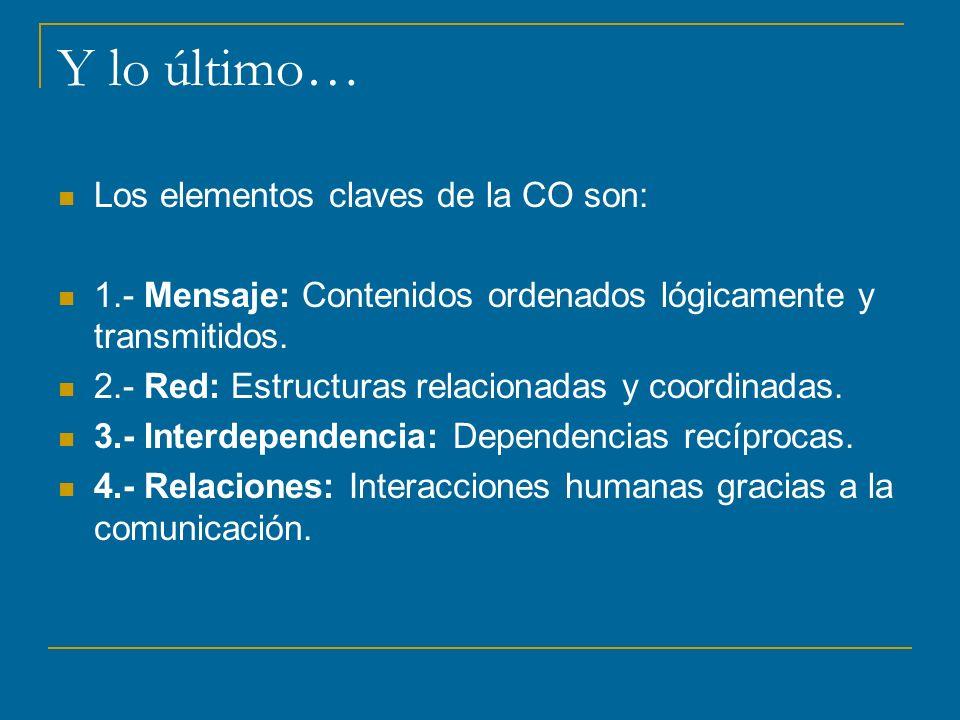 Y lo último… Los elementos claves de la CO son: 1.- Mensaje: Contenidos ordenados lógicamente y transmitidos.