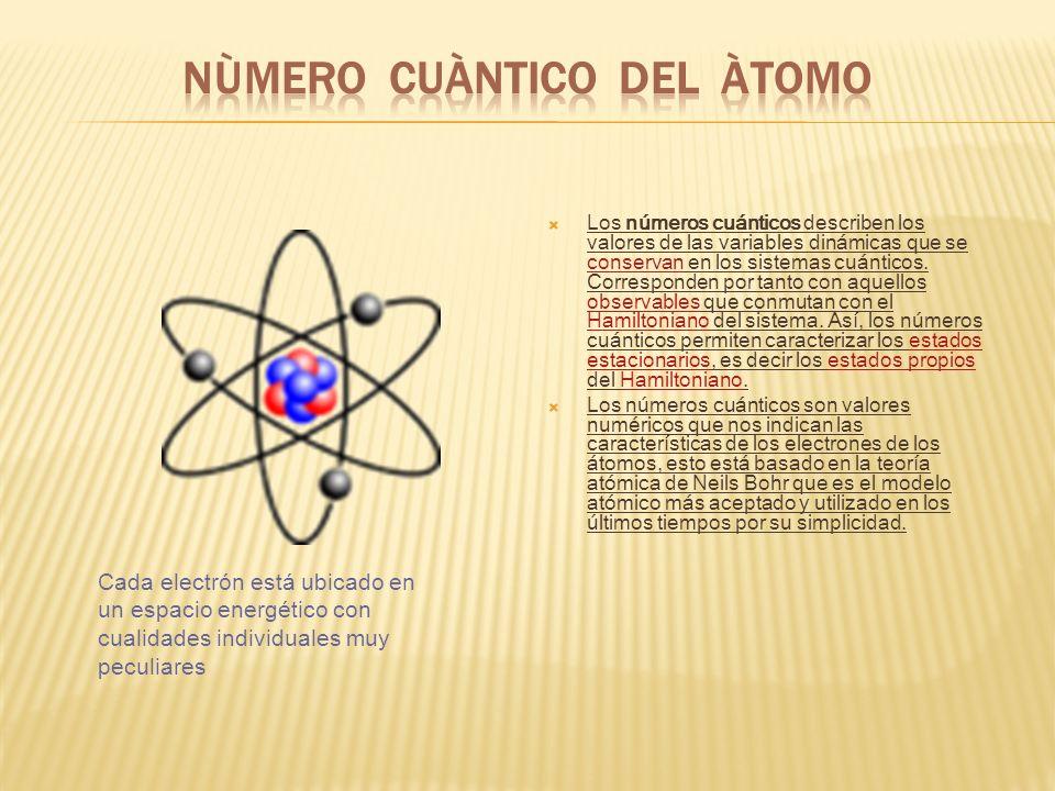 En el átomo, los estados estacionarios de la función de onda de un electrón (los estados que son función propia de la ecuación de Schrödinger HΨ = EΨ