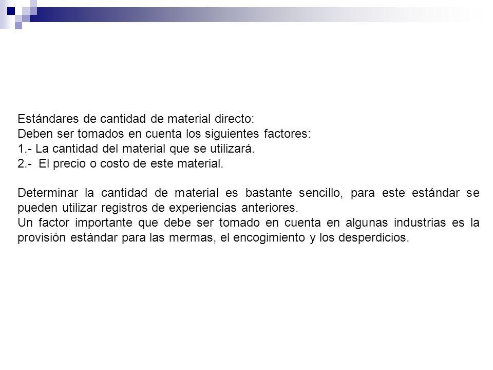Estándares de cantidad de material directo: Deben ser tomados en cuenta los siguientes factores: 1.- La cantidad del material que se utilizará. 2.- El