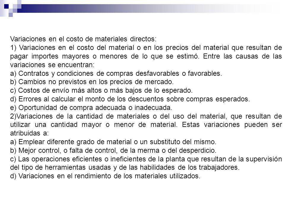 Variaciones en el costo de materiales directos: 1) Variaciones en el costo del material o en los precios del material que resultan de pagar importes m