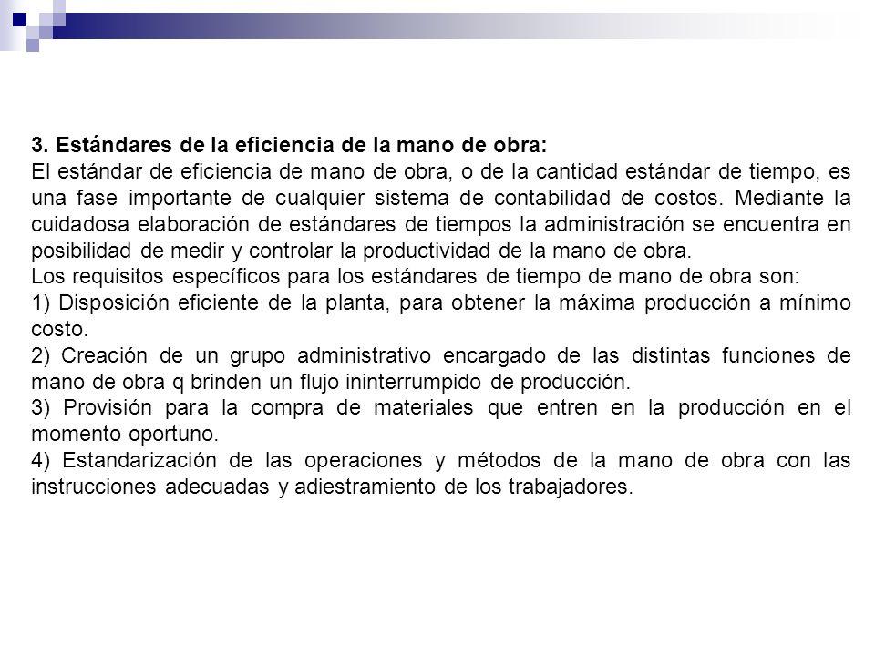 3. Estándares de la eficiencia de la mano de obra: El estándar de eficiencia de mano de obra, o de la cantidad estándar de tiempo, es una fase importa