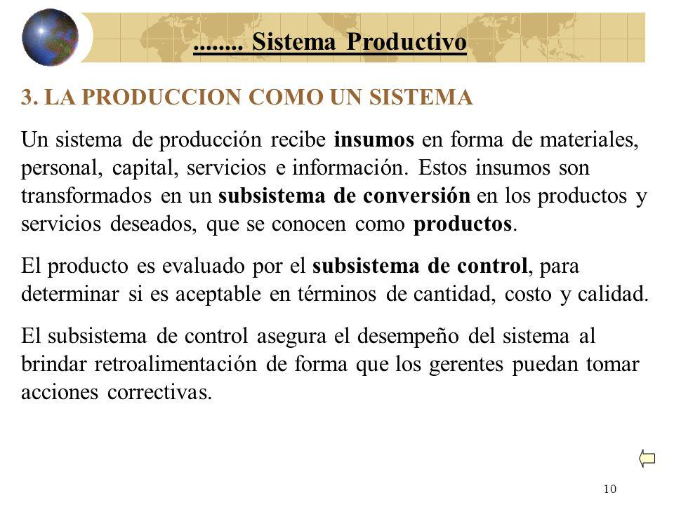 9 2. LA PRODUCCION COMO UNA FUNCION ORGANIZACIONAL El núcleo central de un sistema de producción es su subsistema de conversión, mediante el cual los