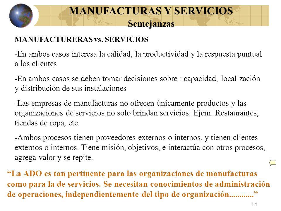 13 MANUFACTURAS Y SERVICIOS Diferencias MANUFACTURERAS (Productos) -Productos físicos, durables -Pueden ser producidos, almacenados, transportados -Es