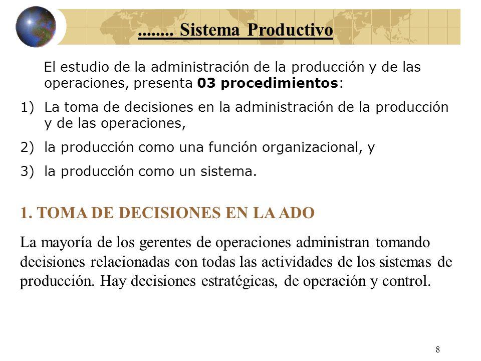 7 Sistema Productivo El fin (meollo) de la Administración de Operaciones es la gerencia de los sistemas de producción. Un sistema de producción utiliz