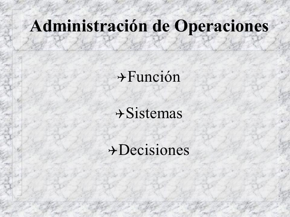Administración de Operaciones Los Administradores de Operaciones (ADO) son los responsables de la producción de bienes o servicios de las organizacion