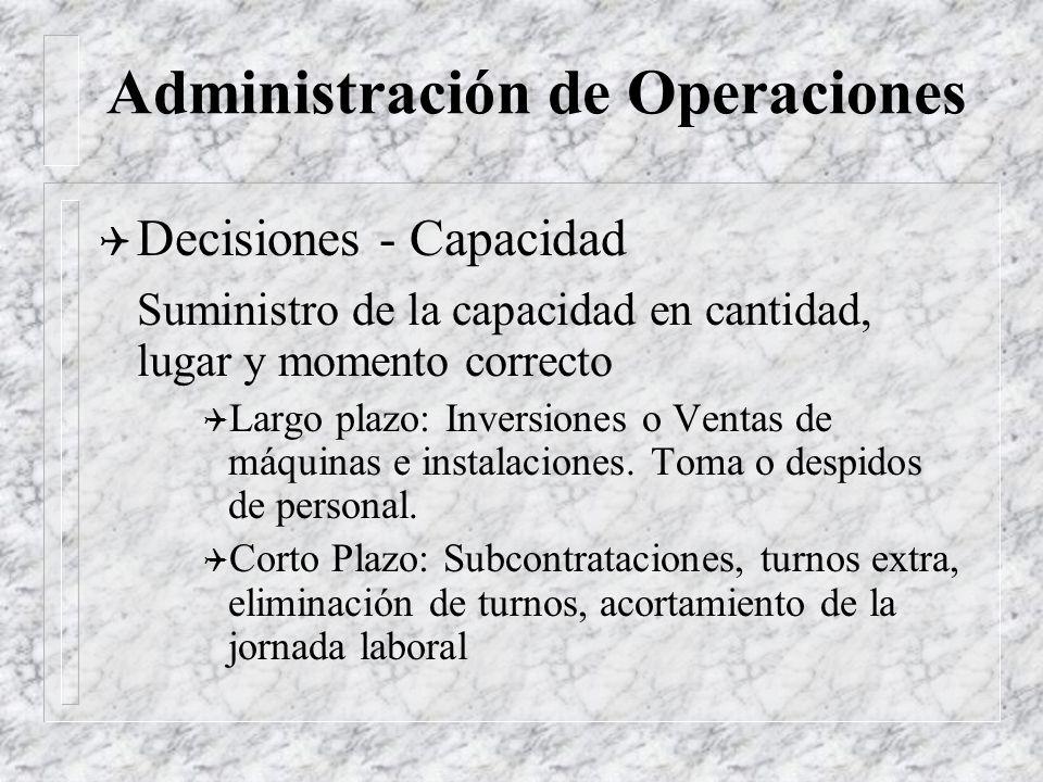 Administración de Operaciones Q Decisiones - Procesos Determinación del proceso físico e instalación a utilizar en la producción del bien o del servic
