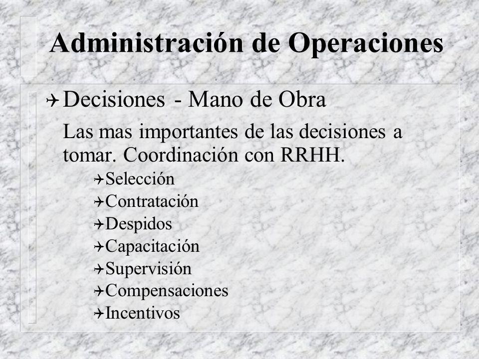 Administración de Operaciones Q Decisiones - Inventario Que, cuanto, cuando comprar o fabricar. Administración del flujo de materiales. Q Materias pri