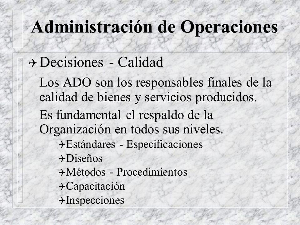 Administración de Operaciones Q Decisiones - Mano de Obra Las mas importantes de las decisiones a tomar. Coordinación con RRHH. Q Selección Q Contrata