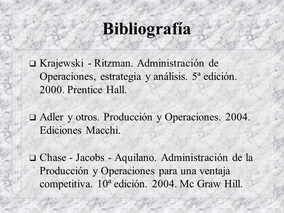 Bibliografía Krajewski - Ritzman.Administración de Operaciones, estrategia y análisis.