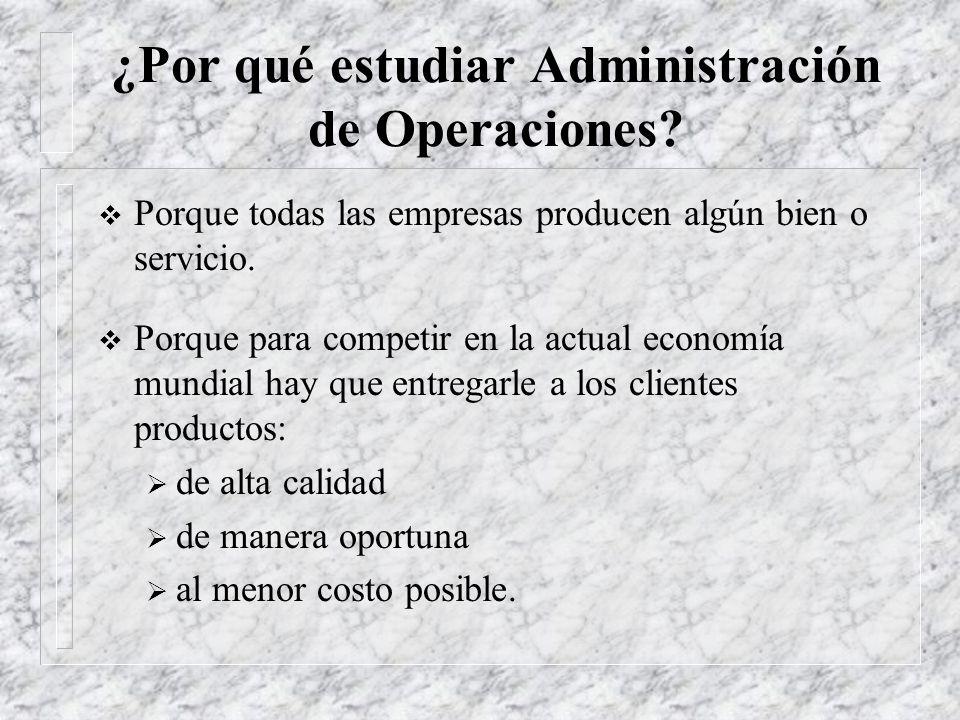 Administración de Operaciones Q Decisiones Toma permanente de decisiones en 5 áreas, como mínimo: Q Procesos Q Capacidad Q Inventarios Q Mano de Obra Q Calidad