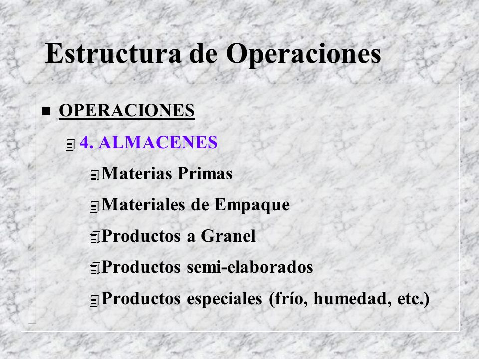 Estructura de Operaciones n OPERACIONES 4 3. INGENIERIA DE PLANTA 4 Mantenimiento de máquinas 4 Mantenimiento de Instalaciones 4 Servicios: agua, vapo