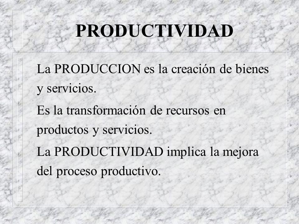 Efectividad y Eficiencia n Eficiencia: uso de los recursos. Grado de aprovechamiento de los recursos transformándolos en productos. Relación entre los