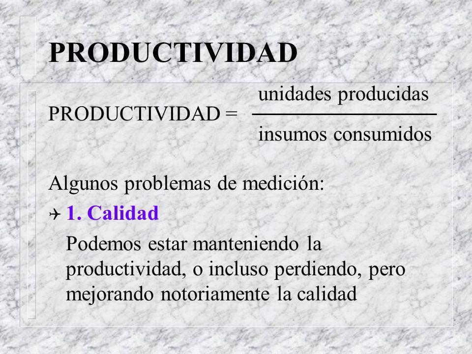 PRODUCTIVIDAD Es una medida de la producción obtenida con relación a los recursos utilizados como insumos: producción PRODUCTIVIDAD = recursos Algunos